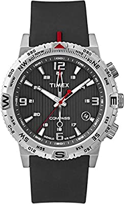 Timex Men's Quartz Watch with Black Dial Analogue Display and Black Silicone Strap T2P285