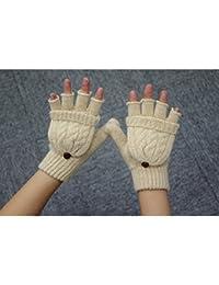 Pixnor Womens hiver laine chaude moitié-doigt mitaines gants (Beige)