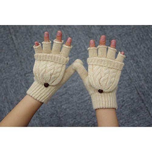 Pixnor Womens warme Wolle Hälfte-Finger-Handschuhe Winterhandschuhe (Beige)