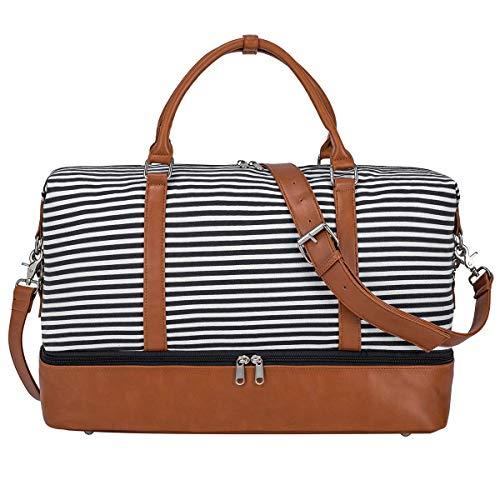 S-ZONE 30L/40L/45L Damen Weekender Reisetasche Übergröße Canvas Tasche mit PU-Lederband und Schuhfach