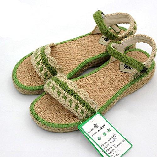 DM&Y 2017 piana dei sandali della madre scarpe di canapa tessuti a mano i sandali della signora traspirante light green