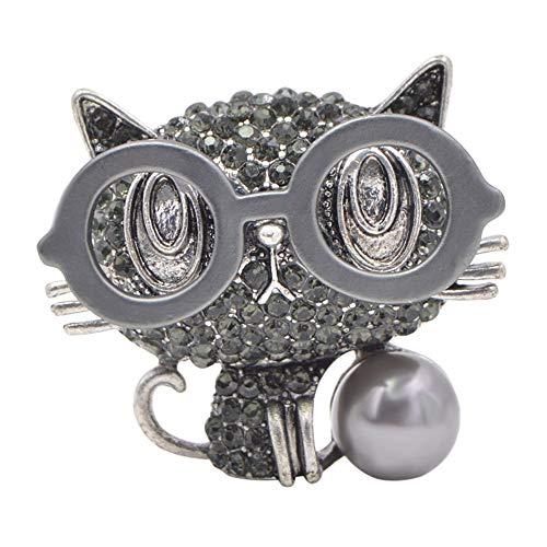 nacklcema New Wear Brille Katze Broschen Für Frauen Niedlichen Tier Schmuck Rucksack Abzeichen Strass Kitty Pin 2 Farben, Silber