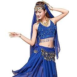 YiJee Mujer Oriental Danza Disfraz Danza del Vientre Tops+Belt+Pants+Veil Zafiro 2