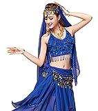 YiJee Danse du Ventre Costume pour Femme Belly Dance Tops avec Jupe Saphir