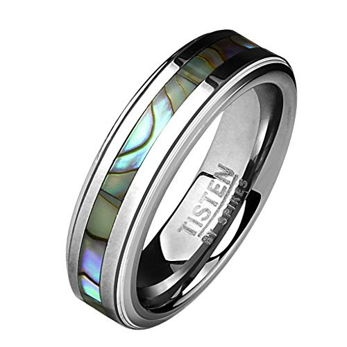 Coolbodyart Tapsi´s Band Ring Titan Wolfram Abalone 6mm Breit 63(20) - Schädel-ringe-titan