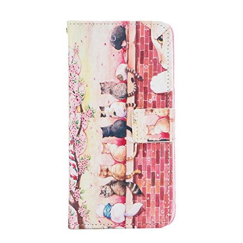 """EUDTH iPhone 6S Coque Peinture Style Housse Flip Magn¨¦tique Portefeuille Etui en Cuir de Protection Case Cover vec B¨¦quille pour Apple iPhone 6 / 6S 4.7"""" -Campanula Dreamcatcher Cute Cats"""