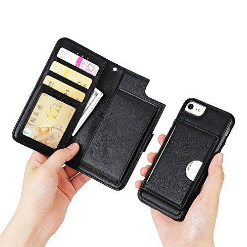 FindaGift iPhone 7 Hülle, Klassisch PU Leder Wallet Case mit Flip Standfunktion und Kartensteckplätze Magnetic Closure Cover Anti-drop Schutzwache Case Mode Stoßfest Cover mit Abnehmbarer Fall und Wöl Schwarz