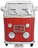 Kare 78247 Kommode Peace and Love, kleine, schmale Wandkommode im Retro-Vintagedesign mit Schubladenfach und 2 Türen, rot (H/B/T) 80x67x40,5cm