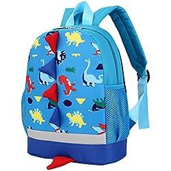 Kukul Mochilas infantiles Patrón de dinosaurio Mochila Bebé Bolsa para la escuela (Azul)