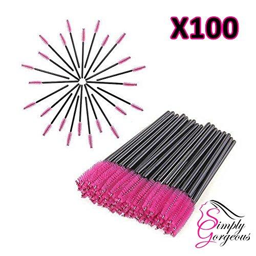 100 Tout simplement magnifique jetables cils Mini Brosse Mascara Wands applicateur - Rose