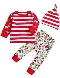Ha Yi Weihnachten Baby Kind Junge Mädchen Langarm Streifen Cartoon Elch Schneeflocke Drucken Top + Pants + Hat Three Piece Set