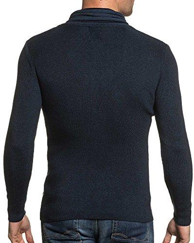 BLZ jeans - Pull navy homme col châle zippé Bleu