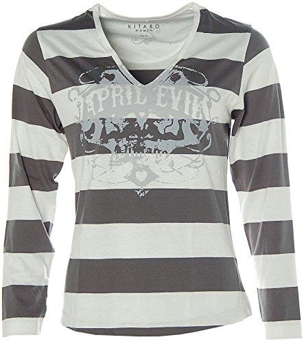 Kitaro Damen Langarm Shirt V-Ausschnitt Streifen Grau