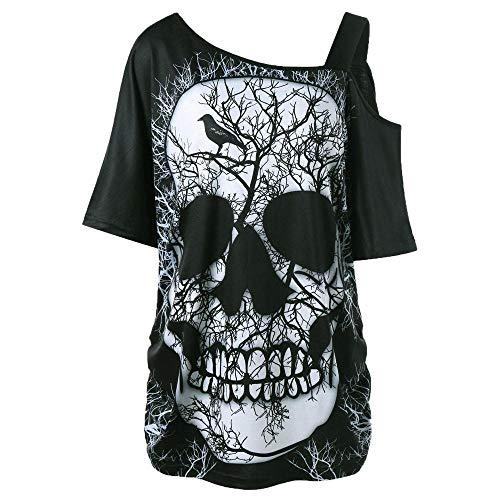 YEBIRAL Damen Halloween T-Shirt Kurzarm Schulterfrei Oberteile Bedrucken Totenkopf Lose Tunika Mode Casual Sommer Asymmetrischer Bluse Tops