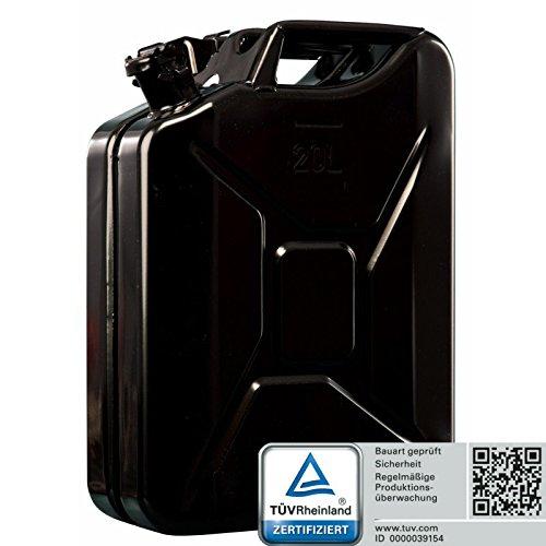 Preisvergleich Produktbild Oxid7® Kraftstoffkanister Benzinkanister in Schwarz 20 Liter aus Metall mit UN-Zulassung für Benzin und Diesel