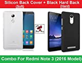 Combo of Hard Black Back Cover + Soft Silicon Back Cover - Xiaomi Redmi Note 3 - By Shop Buzz (Hard Back Black and Soft Transparent Cover)