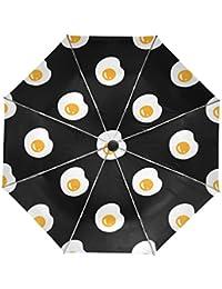 ALAZA Huevo escalfado Lindo Viaje Paraguas de Apertura automática Cerca de Protección UV a Prueba de