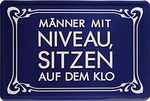 Männer mit Niveau sitzen auf dem Klo Witziger Spruch 20x30 cm Blechschild 1623