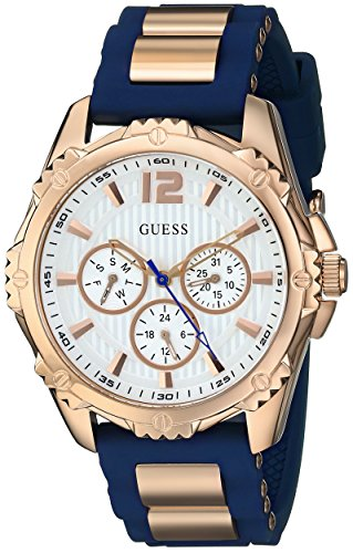 GUESS Women's U0325L8 Sporty Multi-Function Comfortable Navy Blue Silicone Strap Watch image