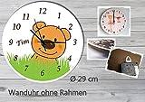 Kinder Wanduhr Kinderuhr Kinderzimmer Uhr mit Namen personalisiert laufruhig leise Teddy Bär (29 cm)