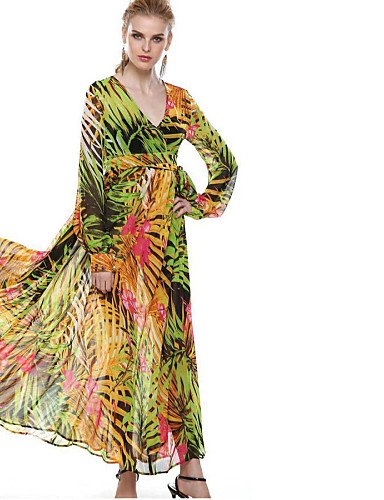 PU&PU Robe Aux femmes Imprimé Col en V / Col Arrondi Maxi Polyester light green-s