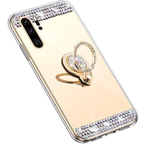 Uposao Kompatibel mit Huawei P30 Pro Hülle mit 360 Grad Ring Ständer Glänzend Glitzer Strass Diamant Transparent TPU Silikon Handyhülle Ultra Dünn Durchsichtig Schutzhülle Case,Gold