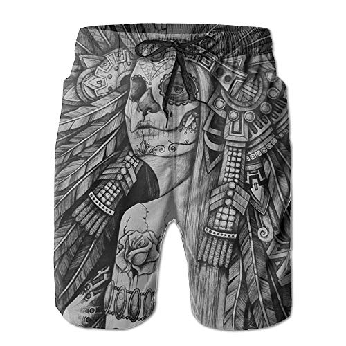 artyly Herren Sugar Skull Tattoo Quik-Dry Sommer Strand Shorts Badehose, Größe L