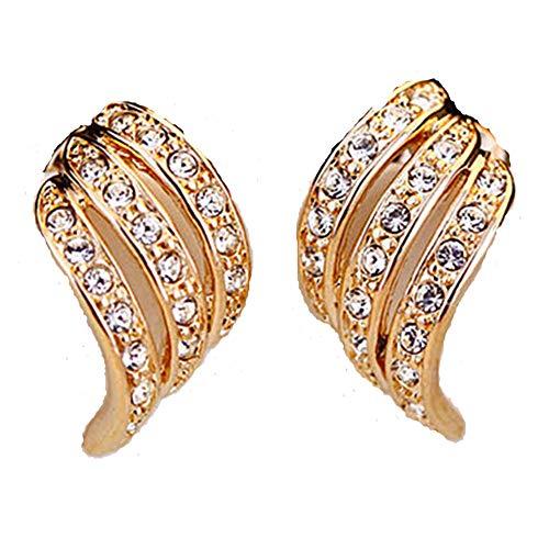 Party Clip auf Rhinestone Gold Curve Huggie Diamante Twist Ohrringe