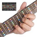 Adesivi Note Chitarra, Fretnotes Aiuto apprendimento chitarra/sticker per principianti Allievo pratica Fit 6 corde acustica chitarra elettrica (nero)