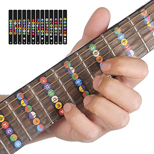 Gitarre Abziehbilder Perfekt für Anfänger,Alaman 100% Vinyl Mehrfarbige Griffbrett Noten helfen Sie vermindern die Schwierigkeit beim Gitarre Lernen