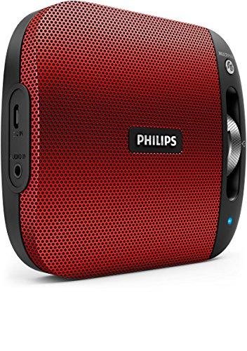 Philips BT2600R/00 - Altavoz portátil inalámbrico con Bluetooth (multipair, micrófono, batería recargable),...