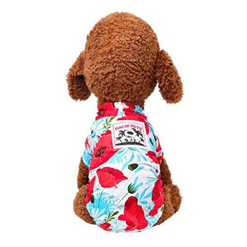 Hawaii Hochzeit Shirts (Smniao Sommer Kleine Mittlere Hunde Beach Weste Haustier Kleidung Urlaub T-Shirt Hunde Welpen Katze Kleid Hawaii Drucken Hemd (XS, Rot))