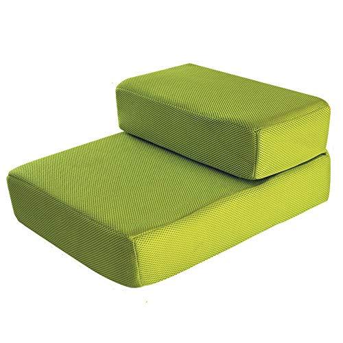 Haustierausstattung Treppen, 2-stufige Katze/Hund bis 150 kg, leicht/tragbar, Rutschfeste Unterseite abnehmbar waschbar (Farbe : Grün)