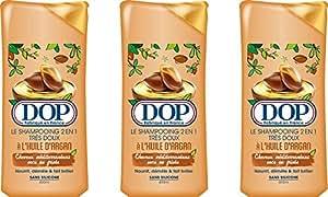 Dop - Shampooing Très Doux 2 en 1 à l'Huile d'Argan Pour Cheveux Méditerranéens Secs ou Frisés - 400 ml - Lot de 3
