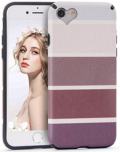 Imikoko iPhone 7 Hülle,iPhone 8 Hülle, iPhone 7/iPhone 8 Rundumschutz Handy Hülle Schutzhülle Weich Silikon TPU Case Streifen Super Sweet Cute für Girl Frauen Mädchen