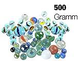 Produkt-Bild: TK Gruppe Timo Klingler Murmeln Glasmurmeln 500 Gramm Glas im Sack Verschiedene Motive für Kinder Jungen und Mädchen