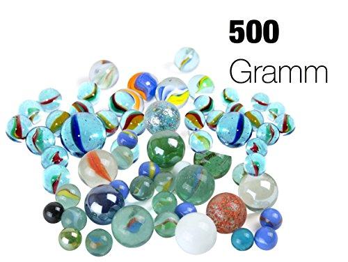 TK Gruppe Timo Klingler Murmeln Glasmurmeln 500 Gramm Glas im Sack Verschiedene Motive für Kinder Jungen und Mädchen