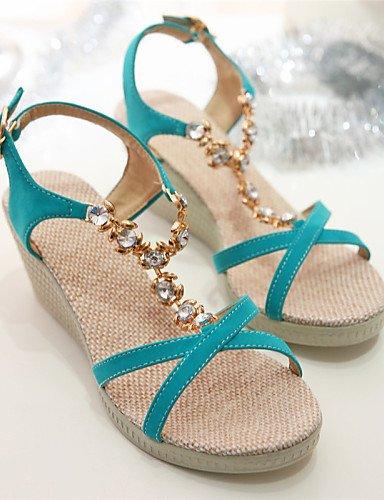 UWSZZ Die Sandalen elegante Comfort Schuhe Frau - Sandalen - Freie Zeit/Arbeit/formellen/Casual - Keile/Plateau - Keil - Kunstleder - Schwarz/Weiß, Weiß -6.5-7 US/EU 37/ UK 4,5-5/CN 37, Weiß -6.5-7 US Green