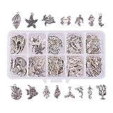 SUPVOX 90 Piezas de Abalorios para Hacer Joyas, con diseño de Concha de mar y Animales Marinos para Hacer Pulseras y Collares (Plata)