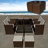 FLORIDA Poly Rattan Braun Sitzgruppe Gartengarnitur Essgruppe Gartenmöbel Lounge Cube