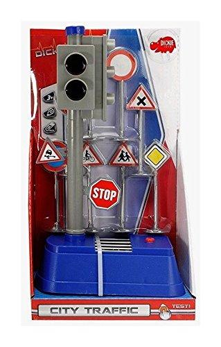 (Dickie Toys 203741001 - City Traffic, batteriebetriebene Verkehrsampel mit Verkehrsschildern, 24 cm)