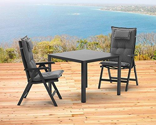 Kettler BASEL 1 Tisch 95x95 cm und 2 Klappsessel und 2 Auflagen Gartenmöbel in anthrazit