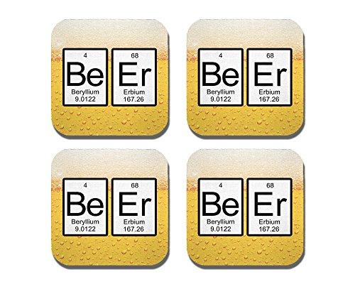 Periodensystem Bier Untersetzer-4-teiliges Set-Neopren-Neuronen nicht im Lieferumfang enthalten -
