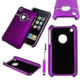 ebestStar - Compatible Coque iPhone 3 3GS Apple Etui Housse Plastique Rigide Silver-Line chromé + Mini Stylet, Violet [Appareil: 115.5 x 62.1 x 12.3mm, 3.5'']