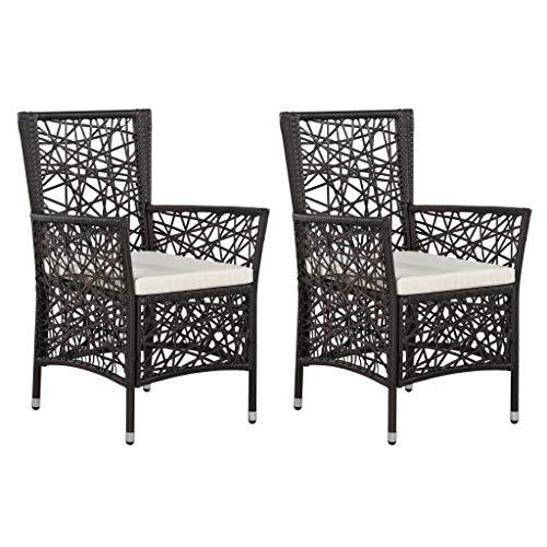 Festnight- 2 STK. Gartenstühle mit Armlehnen Set Gartenmöbel Sitzmöbel Balkonstuhl Poly Rattan Braun