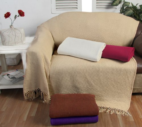 100-cotton-honeycombe-waffle-beige-3-seater-sofa-settee-chair-bed-throw-tasselled-edging