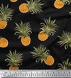 Soimoi Schwarz Baumwoll-Popeline Stoff Ananas Obst Stoff