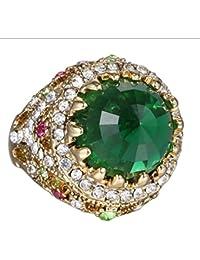 Anillos de compromiso geométricos de la declaración de la vendimia para las mujeres Cristal colorido de la joyería del Rhinestone de los granos
