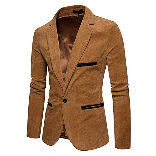 AmyGline Herren Anzug Anzugjacke Slim Fit EIN Knopf Business Casual Hochzeit Langarm Corduroy Jacke Blazer Mantel Top - Business-casual-jacke