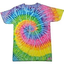 Colortone- Camiseta de manga corta gruesa de efecto teñido con arcoiris para chica/mujer (Mediana (M)/Saturno)